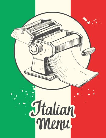 Vector illustration with pasta machine. Sketch design. Italian homemade traditional food.