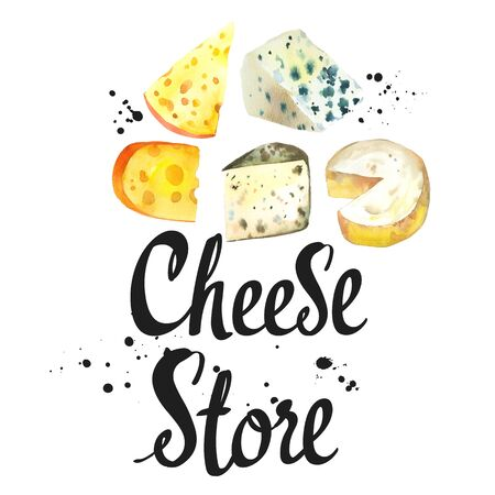 Watercolor noble cheeses: camembert, parmesan, blue, edammer, maasdam, brie, roquefort. Snack bar. Farm dairy products. Fresh organic food.