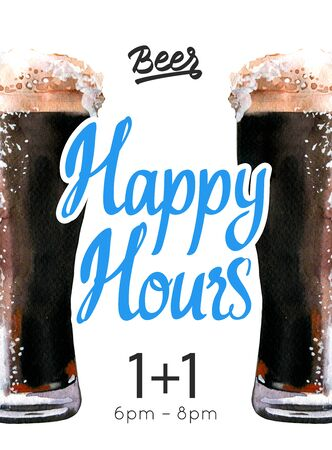 Happy hours poster. Watercolor illustration with glass of stout beer in picturesque style for bar. Drink menu for celebration. Special offer.