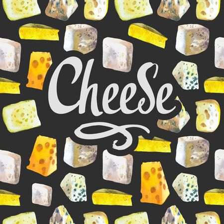 Seamless watercolor background with different noble cheeses: camembert, gouda, parmesan, blue, edammer, maasdam, brie, roquefort. Snack bar. Farm dairy products. Fresh organic food.