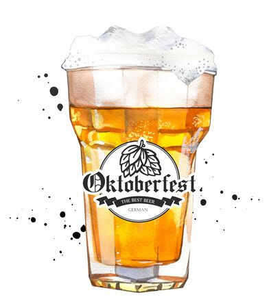 Oktoberfest. Watercolor illustration with glass of lager in picturesque style for bar. Drink menu for celebration. Beer party poster.