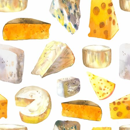 Seamless watercolor background with different noble cheeses: camembert, gouda, parmesan, blue, edammer, maasdam, brie, roquefort. Snack bar. Farm dairy products. Fresh organic food. Фото со стока - 135261049