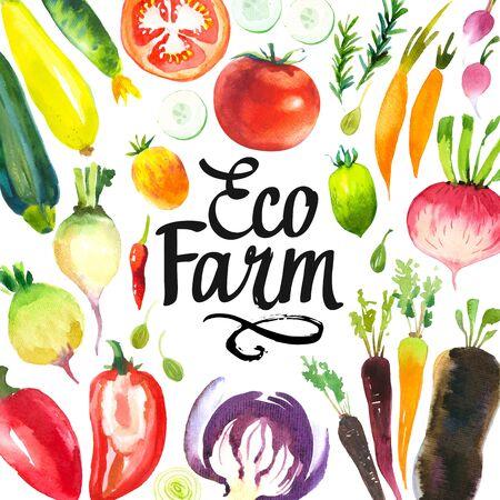 Ilustración acuarela con composición redonda de ilustraciones de la granja. Conjunto de verduras: alcachofas, chalotes, puerros, pimientos, col, zanahorias, pepino, calabacín, nabo, rábano. Alimentos orgánicos frescos.