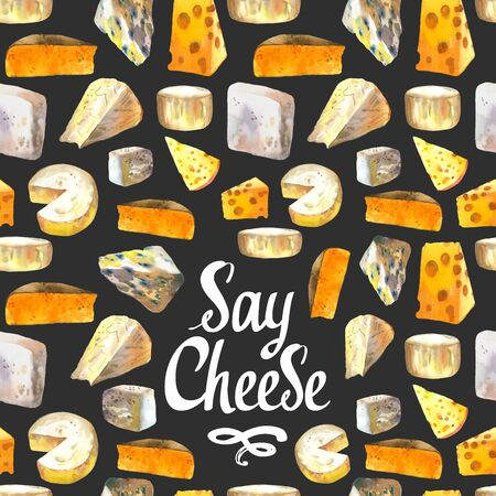 Seamless watercolor background with different noble cheeses: camembert, gouda, parmesan, blue, edammer, maasdam, brie, roquefort. Snack bar. Farm dairy products. Fresh organic food. Фото со стока - 135370645