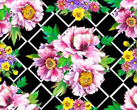 Seamless pattern with watercolor flowers. Beautiful illustrations with plants on black and white geometric background. Composition with Pansies, Peonies, Dahlias.