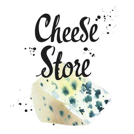 Watercolor illustrations with noble cheeses: blue, roquefort. Snack bar. Farm dairy products. Fresh organic food. Фото со стока - 135305090