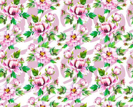 Seamless pattern with watercolor flowers. Beautiful illustrations with plants on abstract brush background. Composition with Peonies.