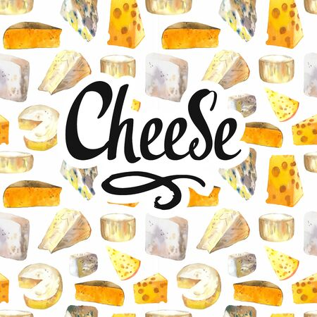 Seamless watercolor background with different noble cheeses: camembert, gouda, parmesan, blue, edammer, maasdam, brie, roquefort. Snack bar. Farm dairy products. Fresh organic food. Фото со стока - 135370856