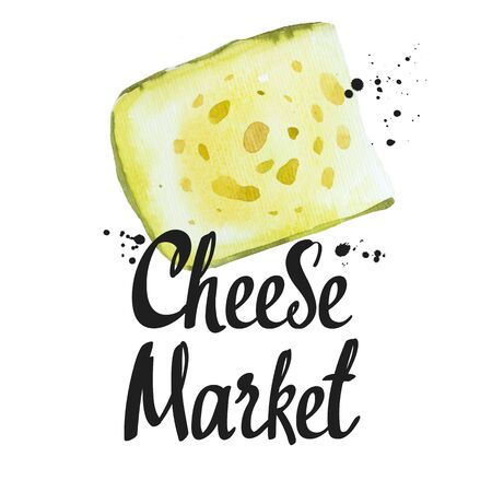 Watercolor illustrations with noble cheeses: edammer, maasdam. Snack bar. Farm dairy products. Fresh organic food. Фото со стока - 135229087