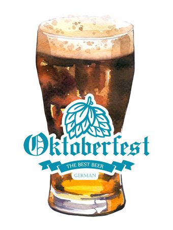 Oktoberfest. Watercolor illustration with glass of stout in picturesque style for bar. Drink menu for celebration. Beer party poster.
