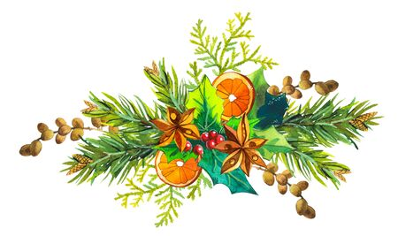 Beautiful watercolor wreath and headline with winter flowers and plants on white background berries, orange slice, pine cones, poinsettia, and pine. Merry christmas.