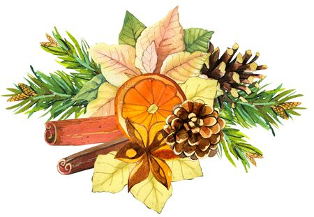 Beautiful watercolor wreath and headline with winter flowers and plants on white background berries, orange slice, pine cones, sinnamon, poinsettia, and pine. Merry christmas.