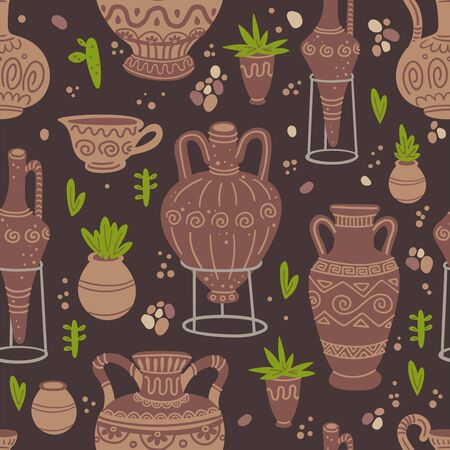 Pottery and plants seamless pattern.  イラスト・ベクター素材