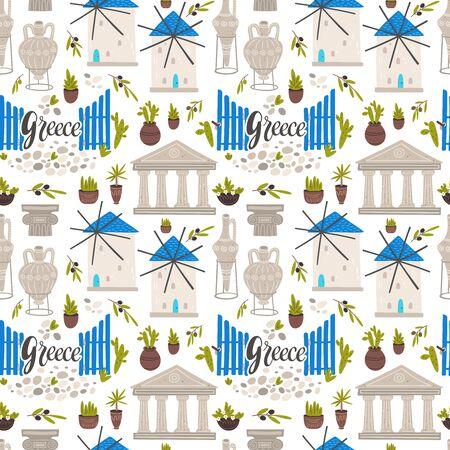 Greece symbols cartoon seamless pattern.