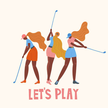 Set with african american young girl hitting ball with golf club. Vector flat hand drawn illustration. Female golfer plays golf. Woman in sport. T-shirt print design. Lets play. Cartoon characters.  イラスト・ベクター素材