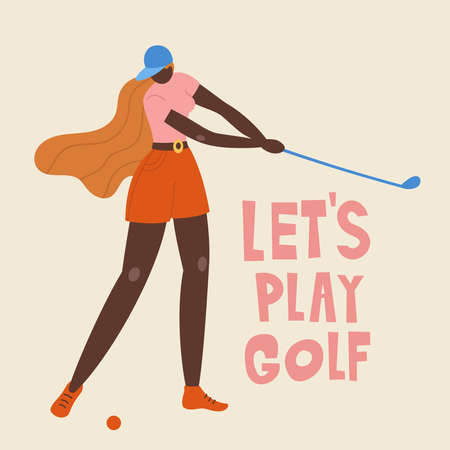 African american young girl hitting ball with golf club. Vector flat hand drawn illustration. Female golfer plays golf. Woman in sport. T-shirt print design. Lets play.