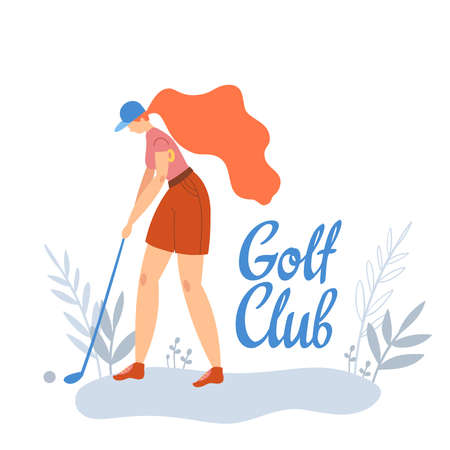 Woman golfer hits the ball with a club on golf course. Vector flat hand drawn illustration. Female athlete playing golf. Girl in sport. T-shirt print design with text space. Cartoon character.  イラスト・ベクター素材