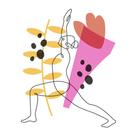Gymnast improving flexibility continuous one line vector illustration on abstract background Stock Illustratie