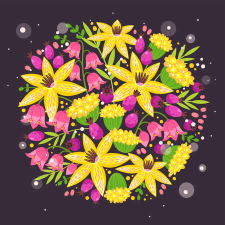 template. Round composition with bouquet of blooming, blossoming flowers cartoon illustration.