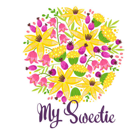 My sweetie flat vector postcard, greeting card template