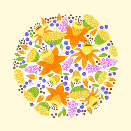 Round composition with bouquet of blooming, blossoming flowers cartoon illustration.