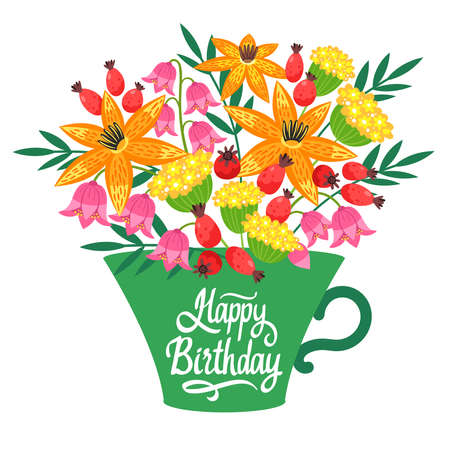 Happy birthday floral, natural postcard, greeting card template.