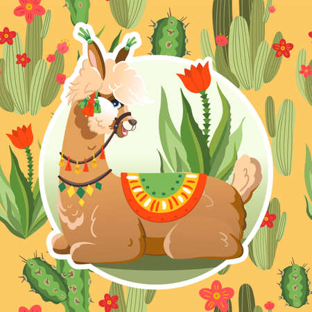 Illustration with llama and cactus plants. Vector seamless pattern on botanical background. Greeting card with Alpaca. Vettoriali