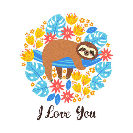 Sleeping sloth on the branch. Vector illustration with bear and lettering I love Yout on white abackground. Greeting card.