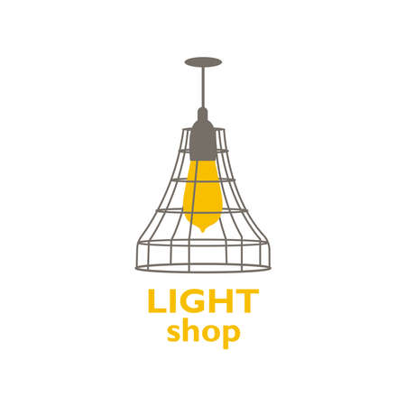 Logo with chandeliers for the store with a modern design. Vector illustration with various silhouettes of light bulbs. Lighting store. Home decor for interior decoration. Vettoriali