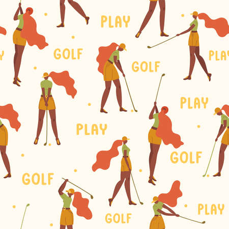 Seamless pattern with african american young girl hitting ball with golf club. Vector flat hand drawn illustration. Female golfer plays golf background, backdrop. Woman in sport. Cartoon characters.