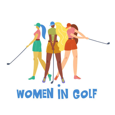 Set with young girl hitting ball with golf club. Vector flat hand drawn illustration. Female golfer plays golf. Woman in sport. T-shirt print design. Lets play. Cartoon characters. Vettoriali