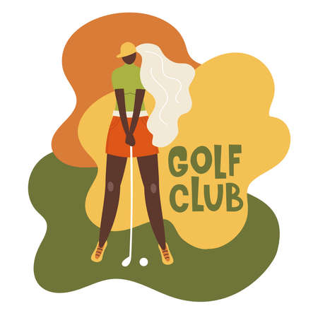 African american young girl hitting ball with golf club. Vector flat hand drawn illustration. Female golfer plays golf. Woman in sport. T-shirt print design.