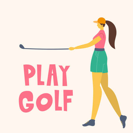 Professional Woman golfer hits the ball with a club. Vector flat hand drawn illustration. Female athlete playing golf. Girl in sport. T-shirt design. Sportswomen training outdoor. Cartoon character.
