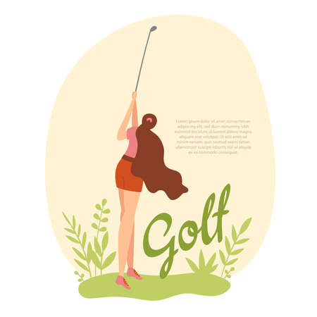 Woman golfer hits the ball with a club on golf course. Vector flat hand drawn illustration. Female athlete playing golf. Girl in sport. T-shirt print design with text space..