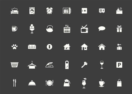 Icon hotel set. Vector illustrations with vacation, booking and rental housing simbols. Vettoriali