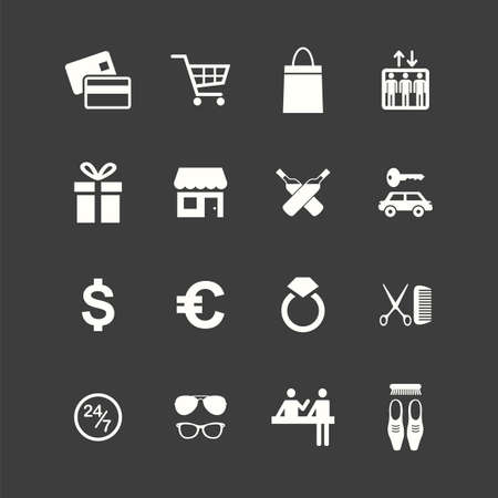 Icon set. Vector illustrations with purchases symbols. Shopping.
