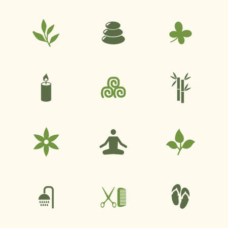 Icon spa set. Vector illustrations with bamboo, candle, towel, slippers, yoga, flower, branch simbols. Vettoriali