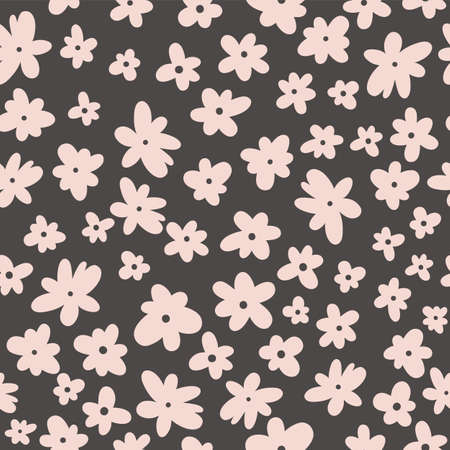 Vector seamless pattern on black. Floral background with flowers. Natural design.