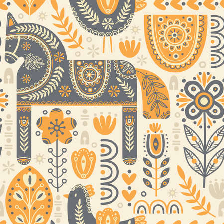 Seamless pattern in scandinavian style with horse and bird, tree, flowers, leaves, branches. Folk art. Vector nordic background with floral ornaments and animal illustrations. Home decorations.