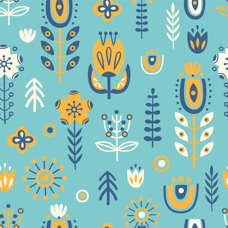 Seamless pattern in scandinavian style with tree, flowers, leaves, branches. Folk art. Vector nordic background with floral ornaments. Home decorations.