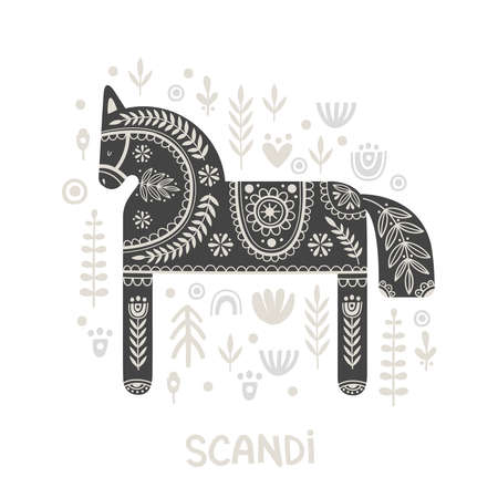 Illustration in scandinavian style with horse and floral elements: flowers, leaves, branches. Folk art. Vector nordic background with ornaments. Home decorations. Black and white.