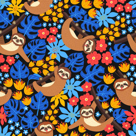Seamless background with Sloth on the branch. Vector illustration of leaves, flowers and cute bear on black. Floral and animal pattern.