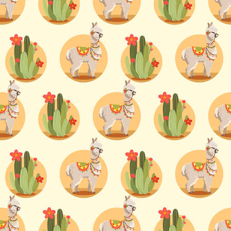 Illustration with alpaca and cactus plants. Vector seamless pattern on white background. Llama.