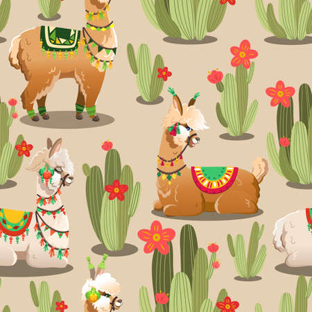 Illustration with alpaca and cactus plants. Vector seamless pattern with Llama.