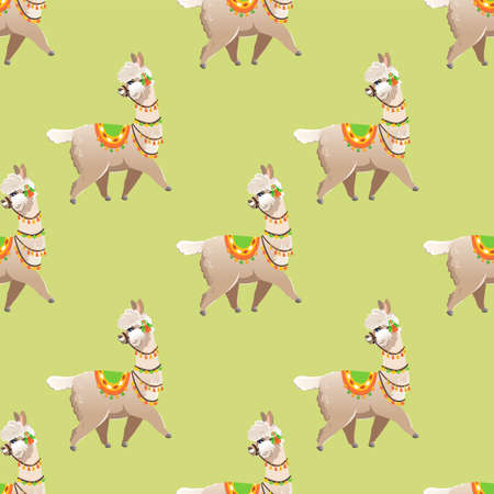 Illustration with alpaca and cactus plants. Vector seamless pattern on green background. Llama. Vettoriali
