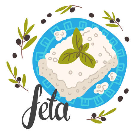Feta cheese dish flat banner vector template.