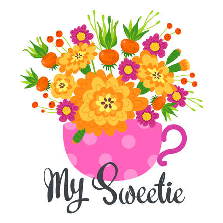 My sweetie floral, natural postcard, greeting card template.
