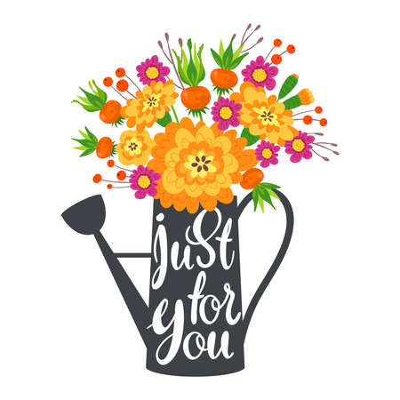 Just for you flat vector postcard, greeting card template. Bouquet of flowers in watering can cartoon illustration. Anniversary party, celebration invitation with floral design banner with lettering