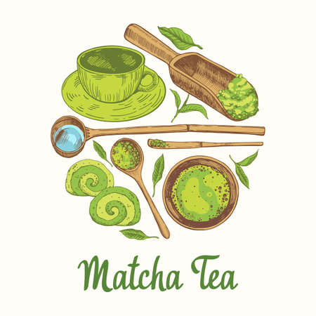 Matcha vector illustration with food and drink sketch. Round compositions. Japanese ethnic and national tea ceremony. Traditions of teatime. Decorative elements for your design. Archivio Fotografico - 155844594