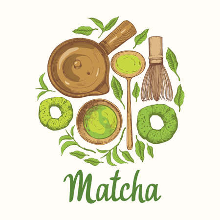 Matcha vector illustration with food and drink sketch. Round compositions. Japanese ethnic and national tea ceremony. Traditions of teatime. Decorative elements for your design.